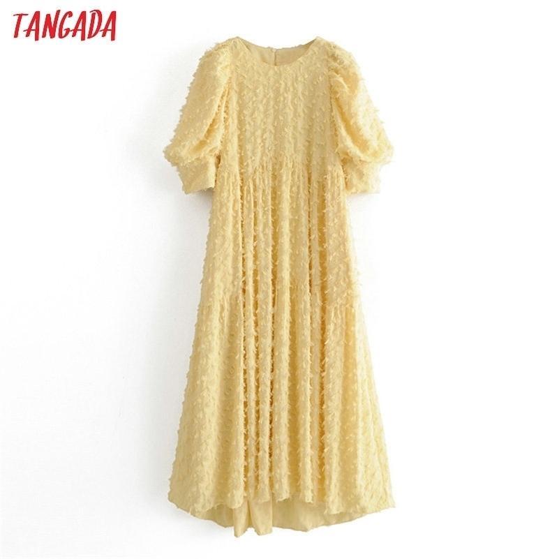 Tangada Мода Женщины Сплошное Желтое Tassel Платье Летние Короткими Рукав Дамы Винтаж MIDI Платье Vestidos 3H50 210317