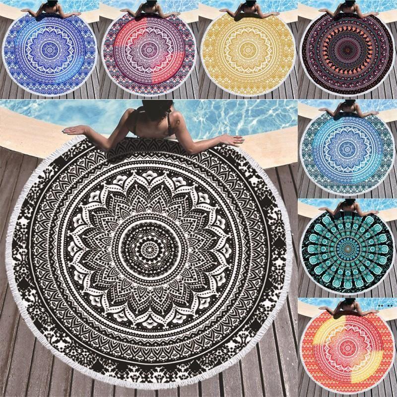 Mandala Beach Towel 150cm Round Towel Material Water Absorption Beach Blanket Bohemian Tapestry Yoga Mat Covers HWB5188