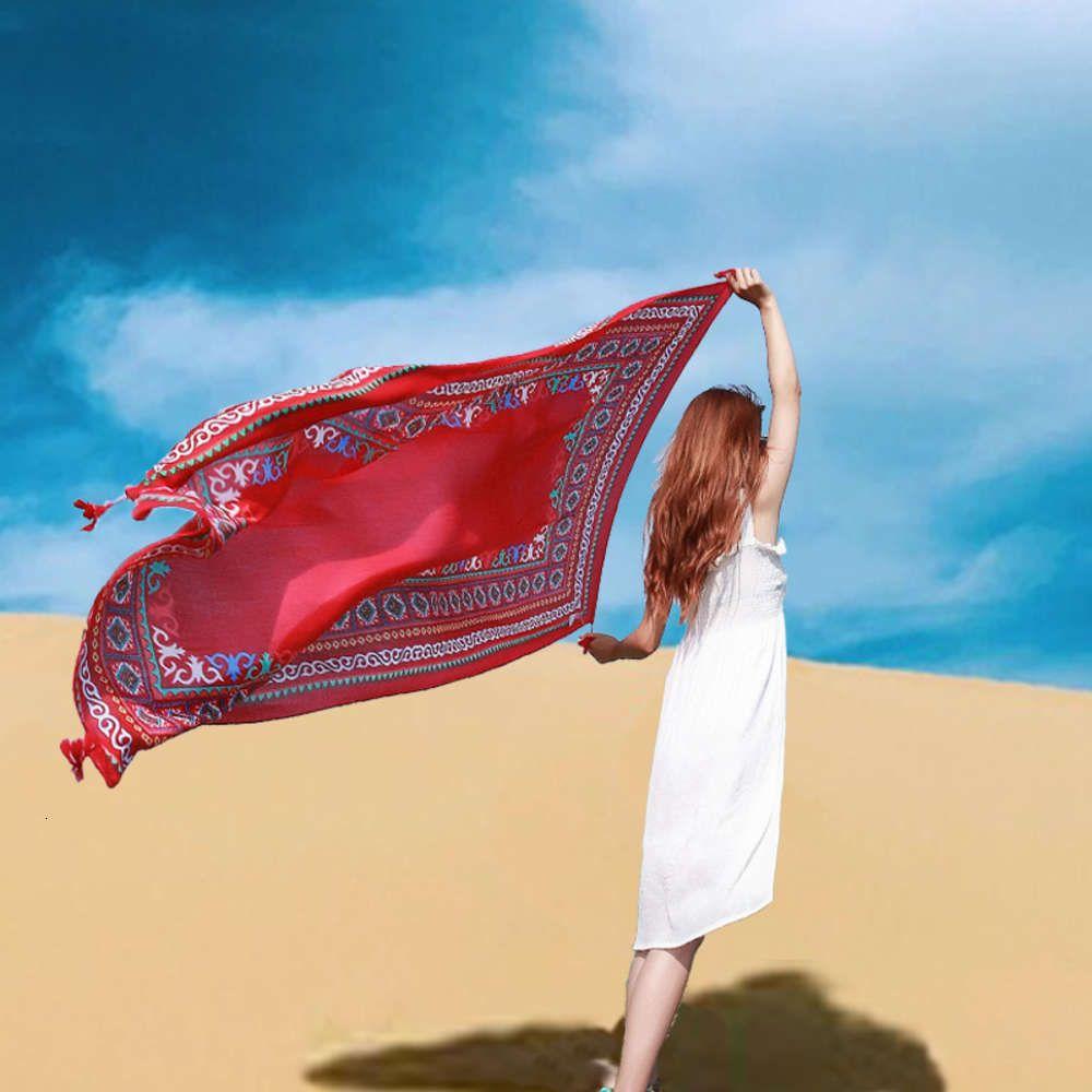 Northwest Qinghai Туризм фото Красный Чака Соль Лейк-Шаль Супер Большой Шелковый Шарф Девушка Пустыня