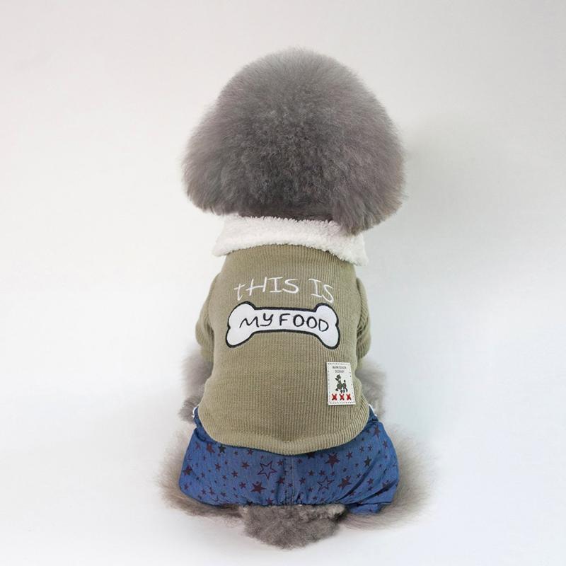 Ropa de perro vestida encantadora ropa de algodón suave con patrón de hueso cuatro piernas perros mascotas abrigo grueso cálido otoño invierno suministros