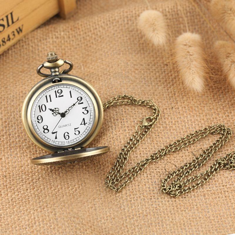 Antico retrò locomotiva modello del treno al quarzo orologio da tasca al quarzo bronzo collana steampunk collana a ciondolo catena di arte collezionabile unisex gifts10