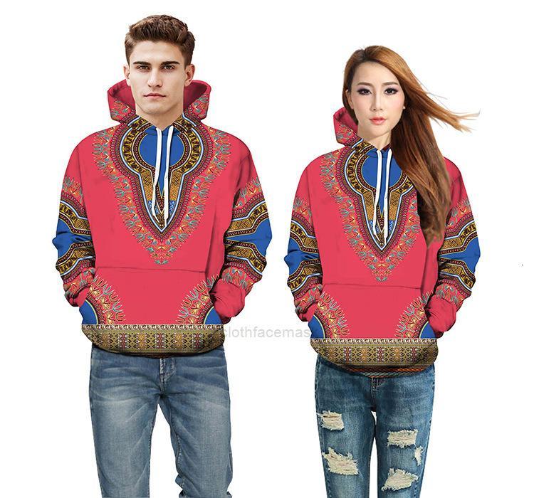 Multi Color Combiné à l'impression numérique Automne et hiver Nouveau Sports Casual Couple Couple Couple à capuche Dwxhfivi