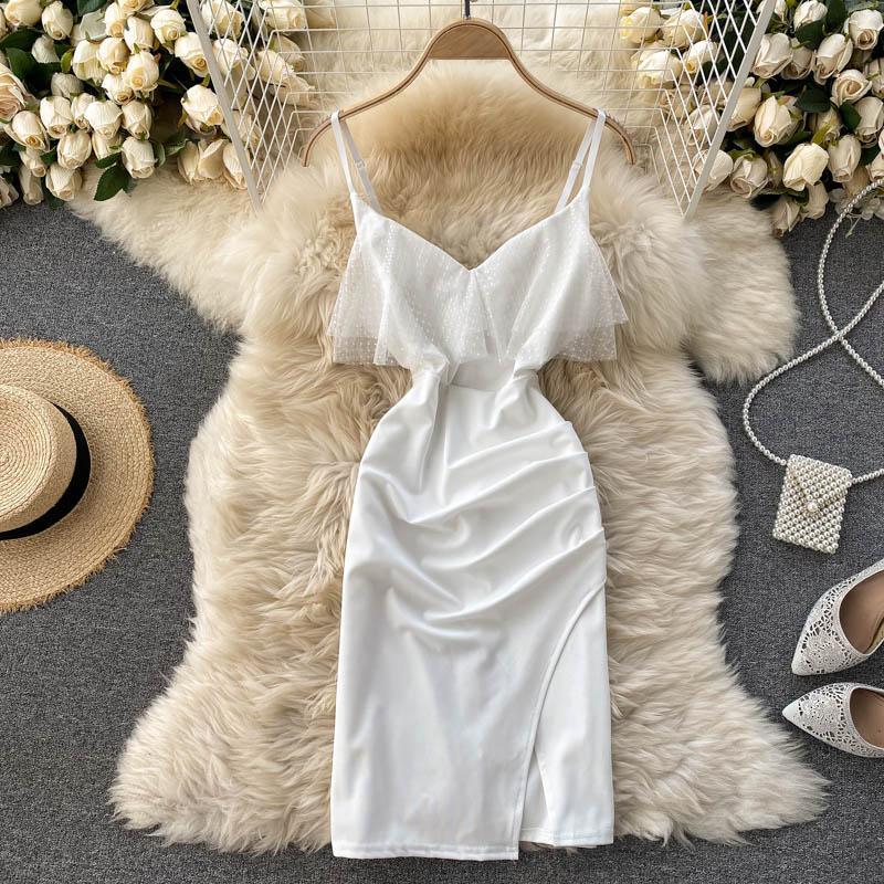Повседневные платья черно-белые сексуальные сетки лоскутное bodycon мини-платье женщин элегантный v-образным вырезом открыть задний тонкий спагетти ремешок vestidos женский fashio