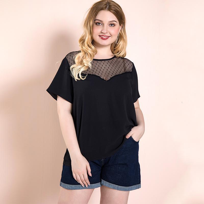 2021 NUOVO BLACK PACE PATCHWORD TAPPA GRANDE DONNA BLUSA SEXY Office Femmina Top Oversize T-shirt T-shirt europee Abbigliamento europeo UE Dimensioni 44 46 48 50 UQN2