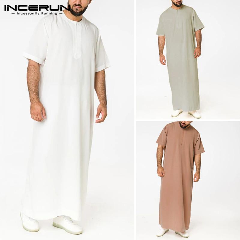 سعودي ستايل سستة جوبا ثوب كيبرون الرجال الصلبة لون الجلباب مان خمر قصيرة الأكمام س الرقبة مسلم الملابس الإسلامية S-5XL