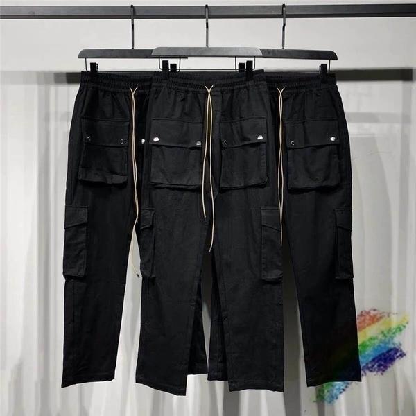 2020 Siyah Rhude Pantolon Erkek Kadın 1: 1 En İyi Kalite Kargo Çok Fonksiyonlu Flep Cepler Tulum ZTM510 Q1110