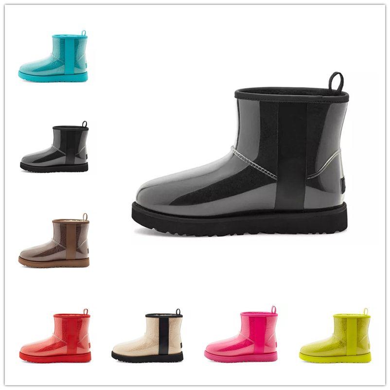 2021 UGG Classic Clear Mini 20 shoes Tasarımcı Bayanlar Avustralya Çizmeler Kış Kar Kürklü Saten Çizmeler Klasik Temizle Mini 20 Ayak Bileği Çizmeler Deri Açık Ayakkabı Beden ABD
