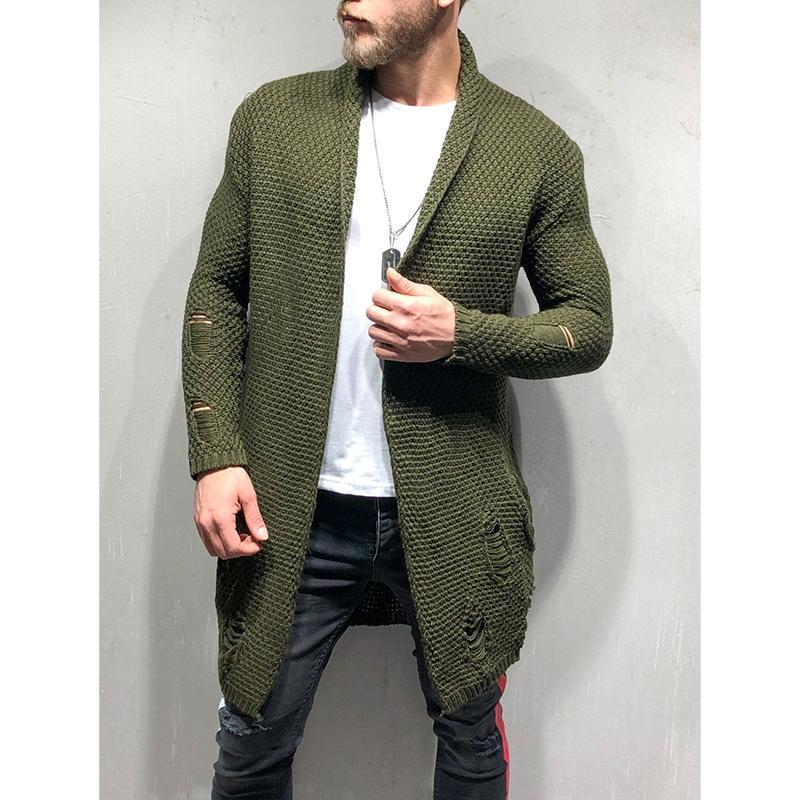 Gelenler erkek Yeni Moda Hırka Uzun Kollu Kazak Triko Sonbahar Sıcak Katı Renk Fit Cepler Erkek Trençkot Palto JA 9CW9