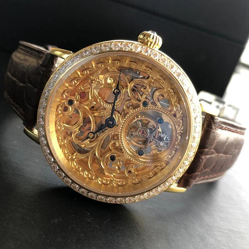 Relógios de relógio de ouro para homem sugestão tourbilhão mecânico safira 50m cristais à prova d 'água esqueleto Numberless escala Heren Horlog