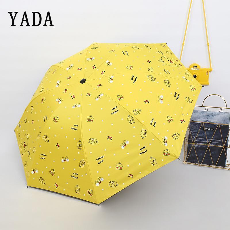 Regenschirme Yada Charm Cartoon kleine gelbe Ente Regenschirm Klappkinder Regen Frauen UV für Winddichte Patio YS629