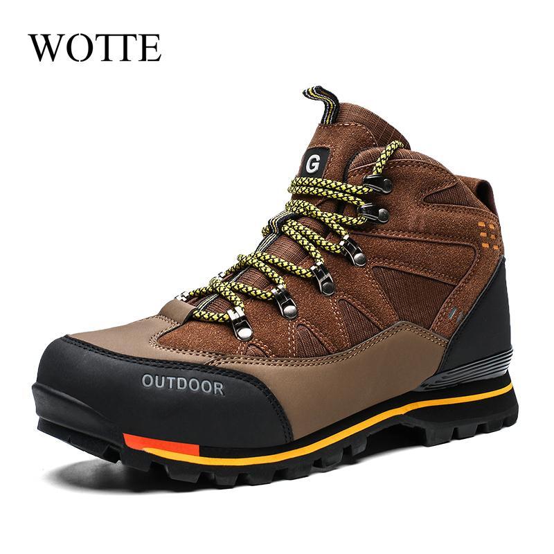 Nuovi uomini Stivali Uomo Top Inverno Stivali in pelle scamosciata in gomma Combattimento Caviglia per la caviglia Scarpe da lavoro per la caviglia Impermeabile Sneakers all'aperto montagna 210306