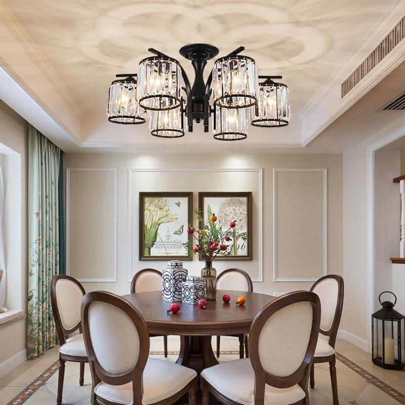 Американская хрустальная люстра освещение современный кованый железо для гостиной столовая кухня спальня светильник светодиодный потолочный светильник