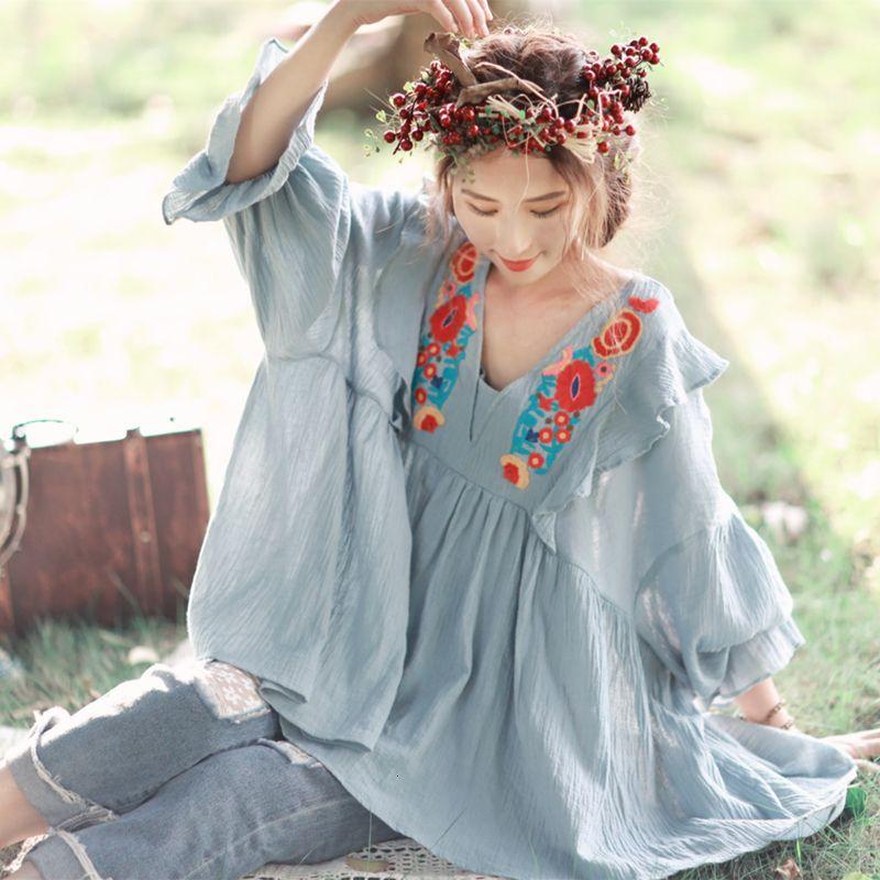 Diseño original Nuevo primavera verano mujeres blusas mori niña dulce lindo bordado granizado ocasional suelto algodón lino camisasgxae