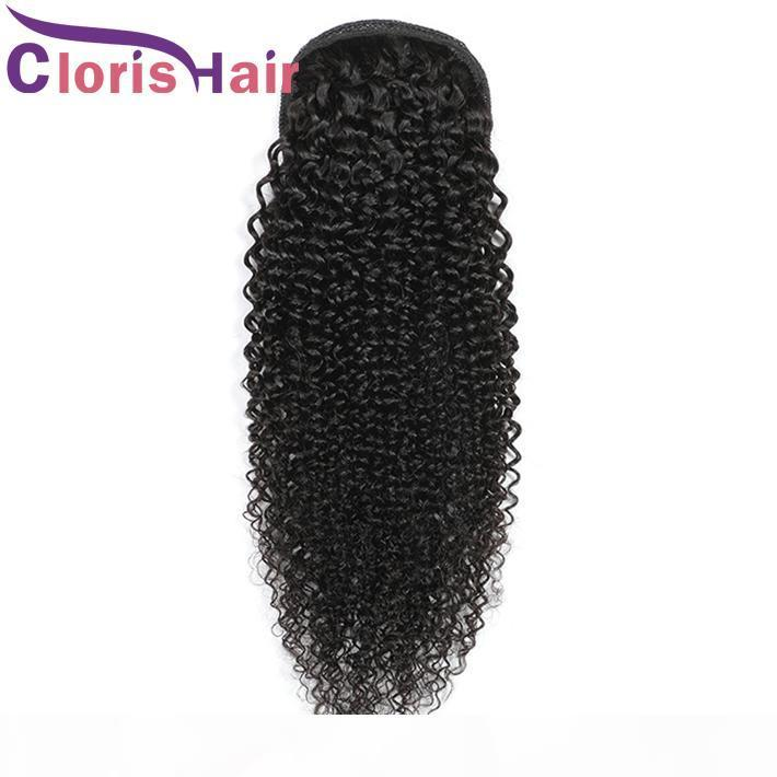 Kinky Curly Pony Coda peruviana Remy Remy Human Heiny Hair Capelli con coulisse Ponytails Clip in estensioni Colore naturale Panino folto Panytail per le donne nere