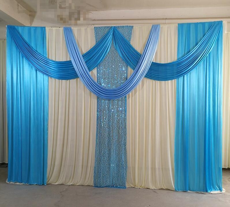 Parti Dekorasyon 3mx3m Tasarım Düğün Sahne Backdrop Swags Doğum Günü ile Pullu Perde