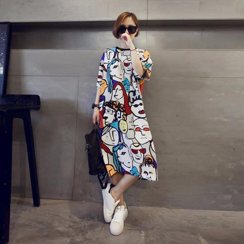 O cou manches courtes manches femmes robes de dessin animé robe de soleil T-shirt harajuku imprimé drôle d'été robe vrac club fête vestidos robe