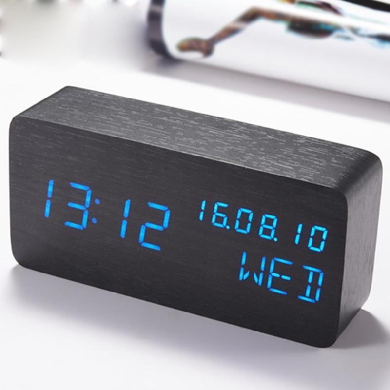 UV Único relógio de madeira eletrônico cubo voz de voz silenciosa decoração de mesa mesa mesa despertador despertador