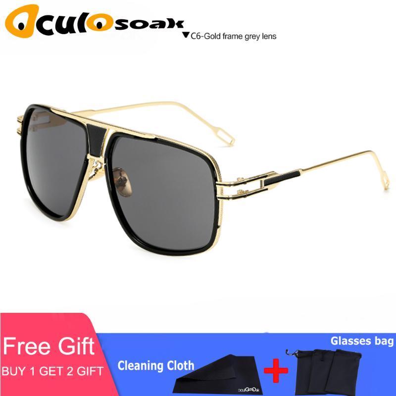 Солнцезащитные очки 2021 Мода Мужчины УВ400 Большой Квадратный Человек Дизайнер Негабаритные Металлические Женщины Солнцезащитные Очки для вождения мужчины