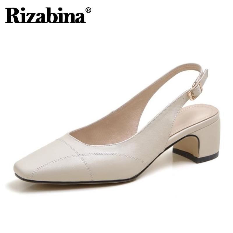 Сандалии Rizabina Женщины Настоящая Кожа Квадратный Носок Весна Обувь Мода Партия Офис Женская Обувь Размер 34-39