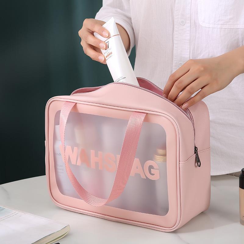 HBP New Soft PU Women Travel Storage Waterproof Toiletries Organize Cosmetic Bags Portable PVC Make Up Wash Bag