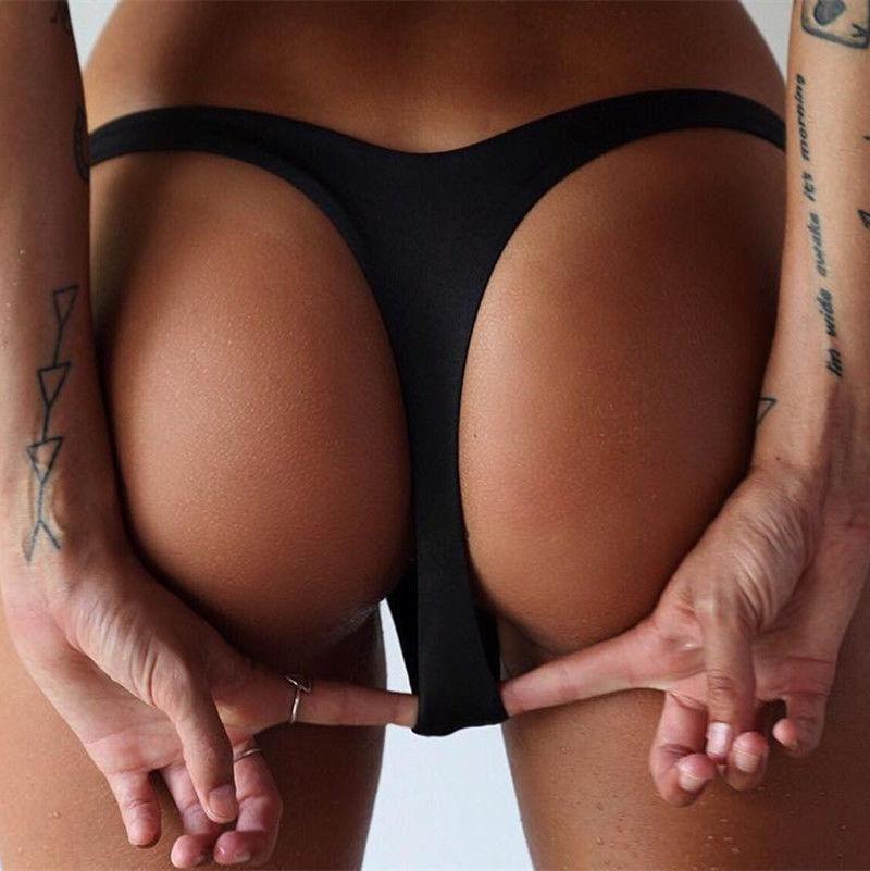 Women's Panties Sexy Women Solid Color Brazilian Bikini Beachwear Bottom V Cheeky Beach Thong Swimwear Swimsuit Bathing Suit Shorts