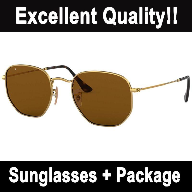 Womens Polarized Sonnenbrille Herren Mode Sechseckige Sonnenbrille Top Qualität UV-Schutz Glaslinsen Klassische Gold Metallrahmen Brillen für Damen