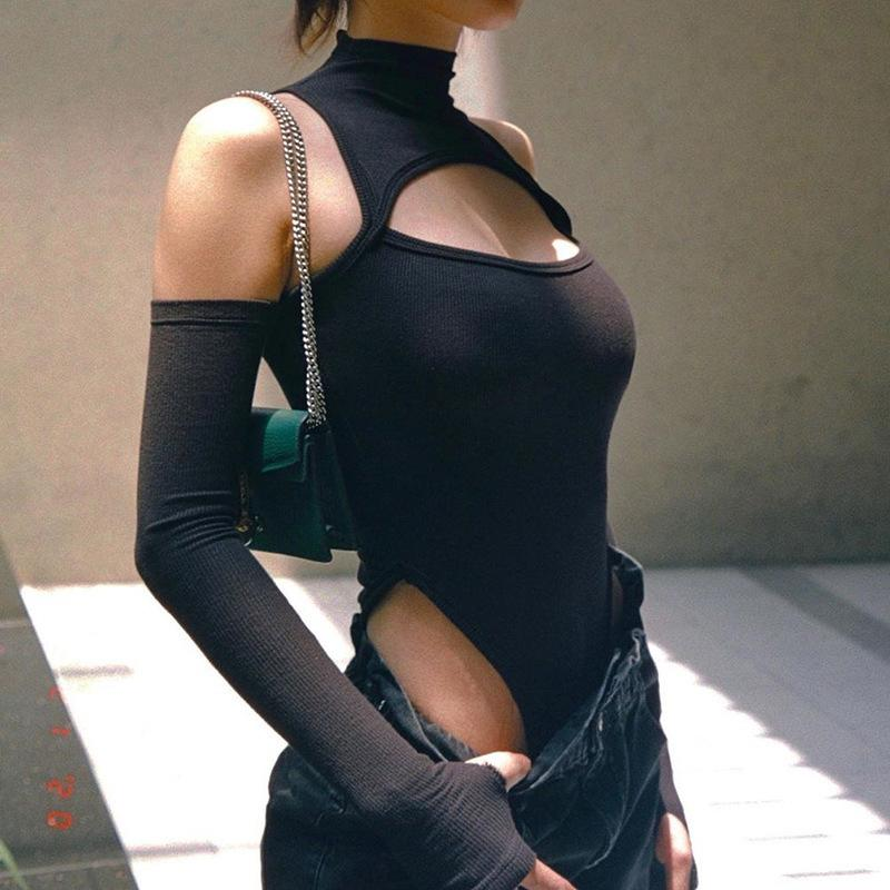 2021 Sexy Apertura sin tirantes Slim Slim Semi High Cuello Mudón Mono Top Color Moda Moda Longsleeve Body Nnon