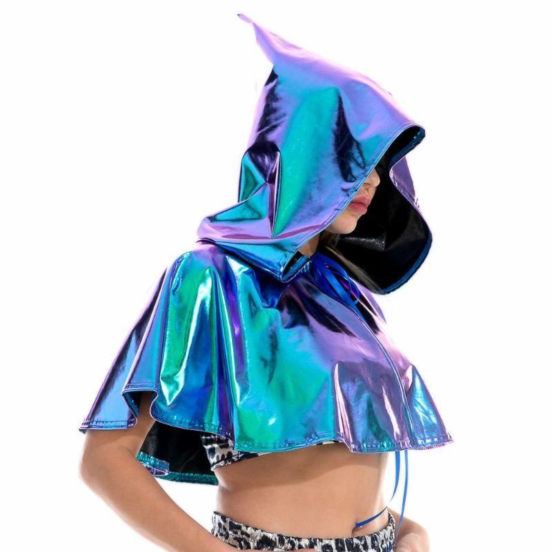 Шарфы партийный клуб косплей смерти плащ блестящий взрослый металлический голографический капюшон мыс матери карнавал дьявол украл хеллоуин костюмы