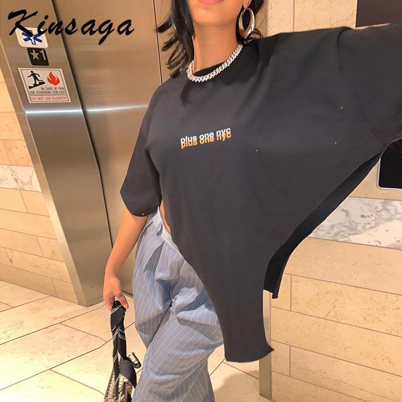 Camiseta de las mujeres Vintage 90's Bad Girl Flow Summer Street Punk Sexy Negro Cultivo Tops TEE TEE SOBRE MANGULÓN CORTE IRREGULAR