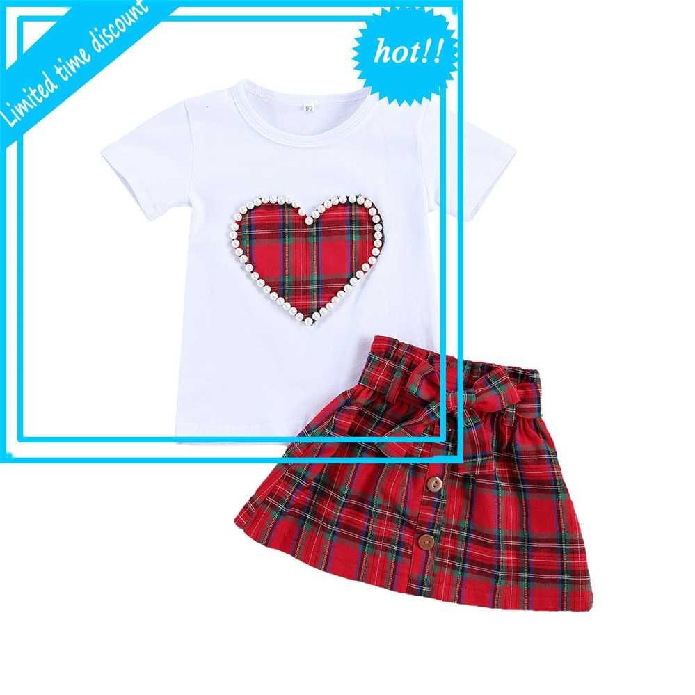 1-5y Baby Girls Equipo de Navidad Imprimir Pearl Short Mouwen T-shirts Strik Rojo Plaid A-Line Smoke 2 piezas Sistemas de ropa