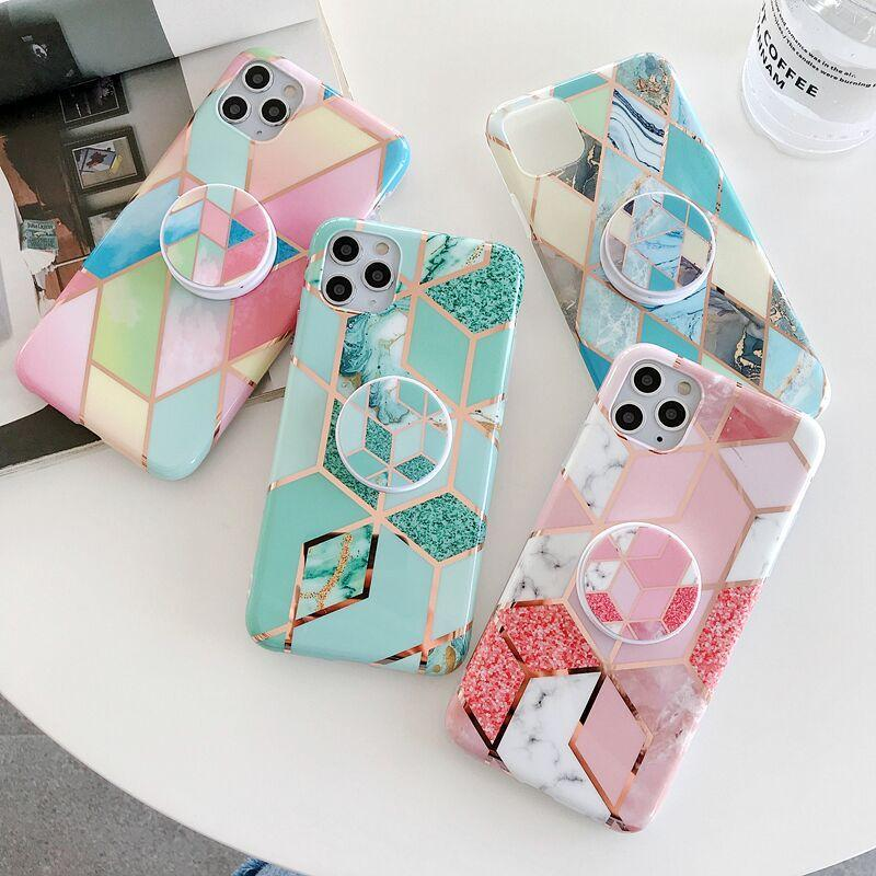 Lusso Electroplated Rosegold Marble Plating Stone Plating Soft IMD TPU Bracket Stand Supporto Caso per iPhone 12 11 Pro Max XR XS x 8 7 SE 2020