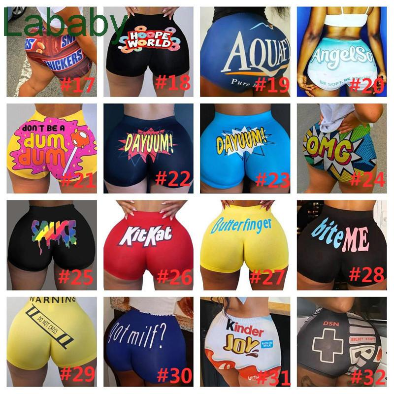 Summer Snack Shorts Women Breathable Booty Bodycon Mini Gushers Snack Booty Yoga Short Pants Candy Shorts Skinny Fast Shipping 103 Styles