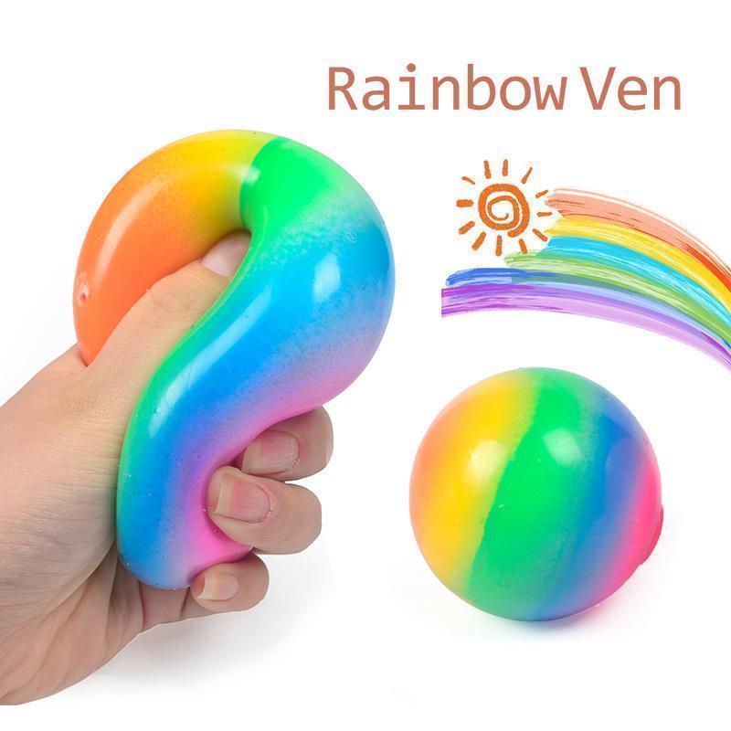 Декомпрессивная игрушка Squired Squeeze Резиновые стрессБлозные тревоги стресс с рельефным аутизмом Hidget Jelly Squishy Rainbow Vent Ball Squeezy для ребенка взрослый