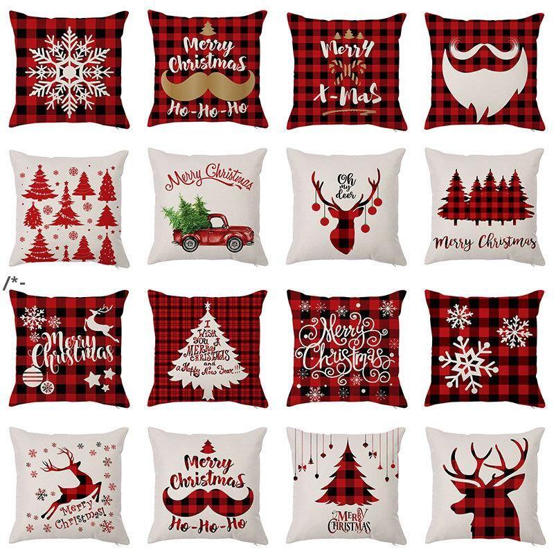 وسادة حالة سانتا كلوز شجرة عيد الميلاد ثلج سادات الملونة الوسائد غطاء المنزل أريكة ديكور سيارة وسادة HHB8375