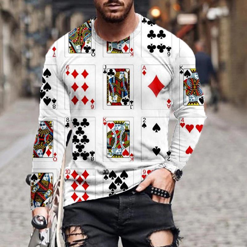 Männer T-Shirts 6XL Mode Druck Langarm Spielkarte T-Shirt Lose Oansatz Top Pullover Frühling Herbst Streetwear