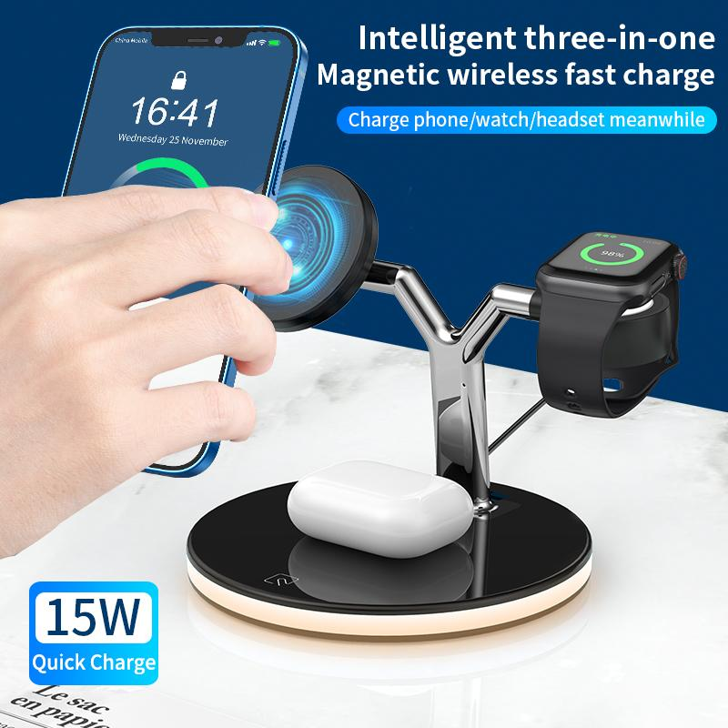 3 in 1 Magnetic Wireless Charger Stand For iPhone 12 Pro Max Mini Apple Watch Fast Wireless Charging Dock Station For Airpods