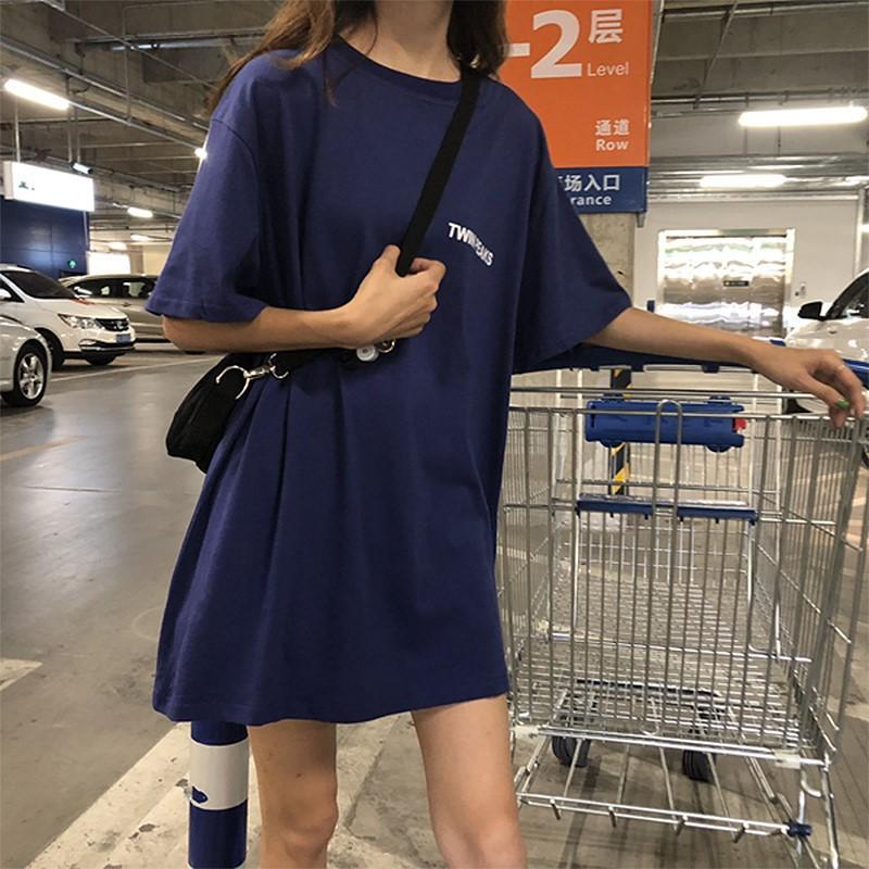 VERANO COREAN COREAN FRENTE Y TRAVÉS DE LA PRIMERA INTERMEDIA NUEVA Camiseta de manga corta de mediana longitud femenina ropa suelta femenina
