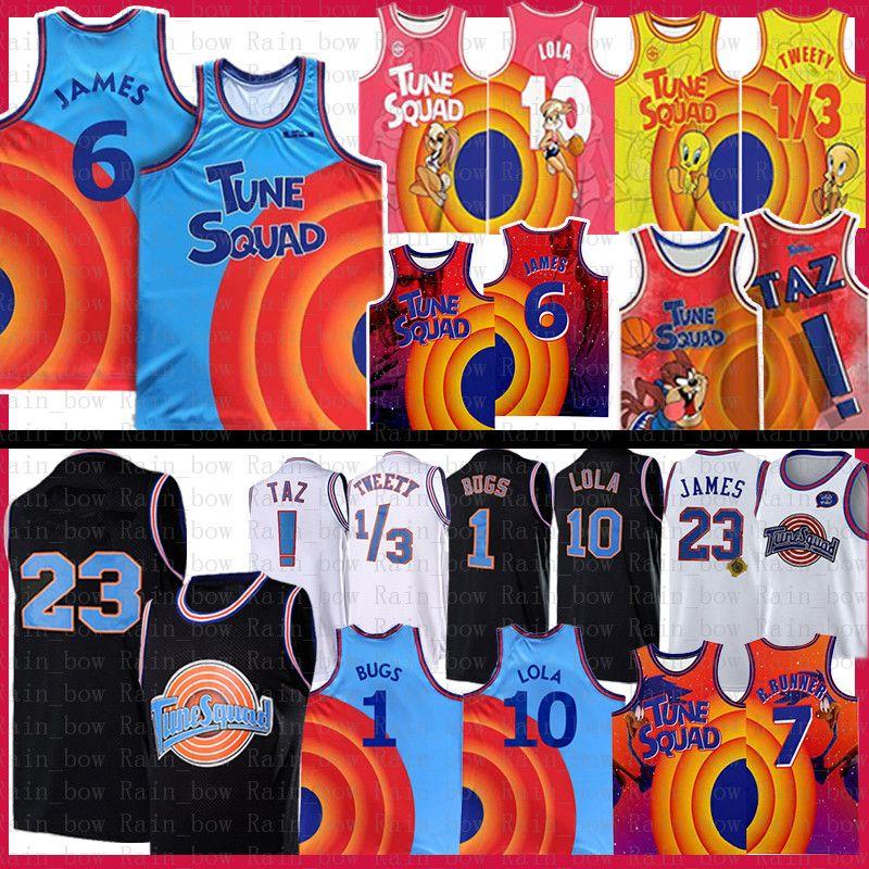 1 البق 10 Lola Movie Space Jam 2 Tune Squad Lebron 6 James Basketball Jersey Youth Mens Blue 2021 23 22 Bill Murray d.duck! TAZ 1/3 تويتي