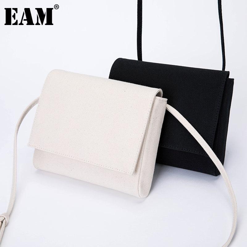 [EAM] Damen Neue Baumwolle Leinwand Square PU-Leder Klappe Persönlichkeit Allgleiches Crossbody Umhängetasche Mode TIDE 2021 18A1900