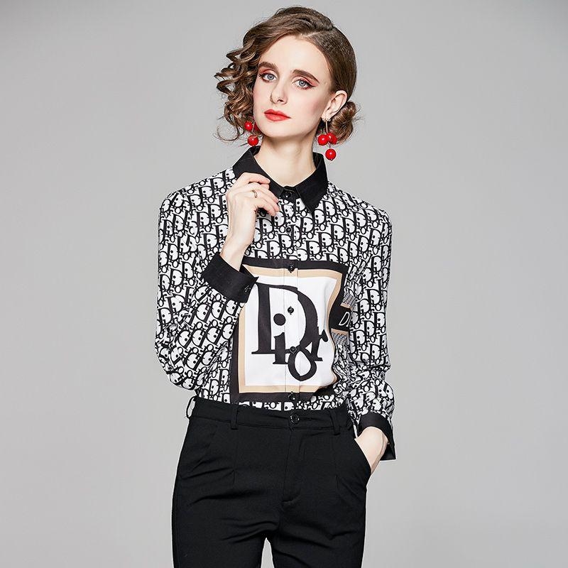 품질 활주로 인쇄 클래식 셔츠 디자이너 여성 버튼 블라우스 우아한 긴 소매 봄 가을 사무실 아름다운 셔츠 플러스 크기 탑스