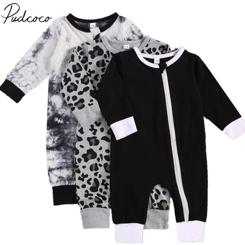Neugeborene Baby Mädchen Jungen Reißverschluss Strampler, Trendy Print Langarm Rundhalsausschnitt Einteiler Overall Leopard Krawatte Farbstoff