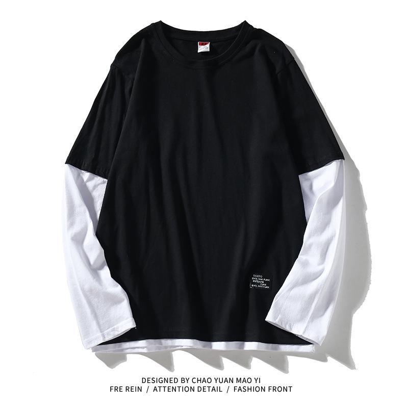 Высокое качество 2021 осень весенняя мода надзоры поддельных двух частей футболка мужская футболка с длинным рукавом на шею для человека верхние тройники