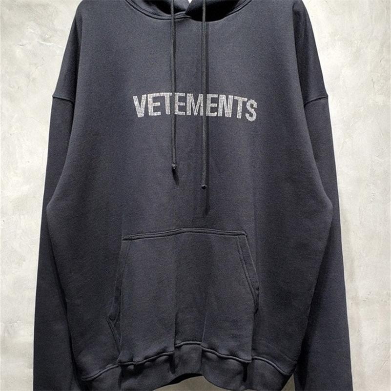 FW Vetements Diamant Stickerei Frauen Männer Mit Kapuze Sweatshirts Hiphop Übergroße Geschwätz Hoodie Pullover Hoody 201104