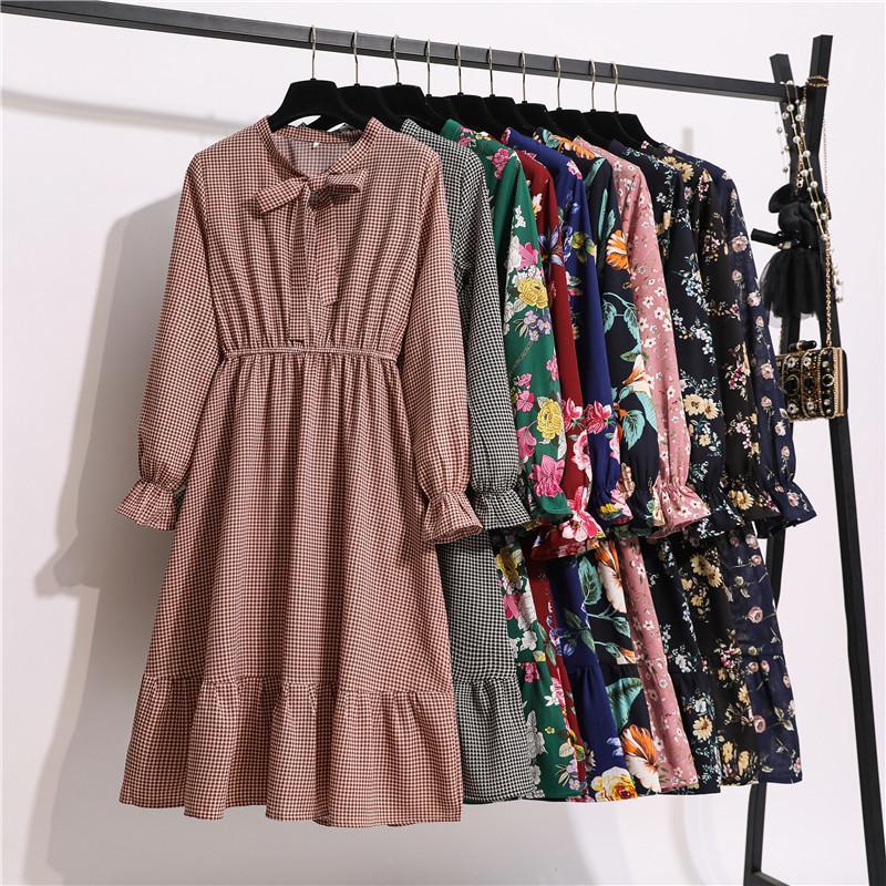11 стиль красивые моды летние женщины с длинным рукавом платья ретро воротник повседневная высокая талия платья цветочные печать шифоновая одежда 210304