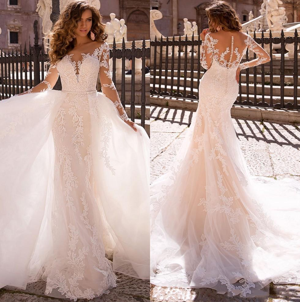 Vestido de noiva com trem destacável vestido de novia sirena laço sexy sereia vestidos sheer malha top mangas compridas vestidos nupciais