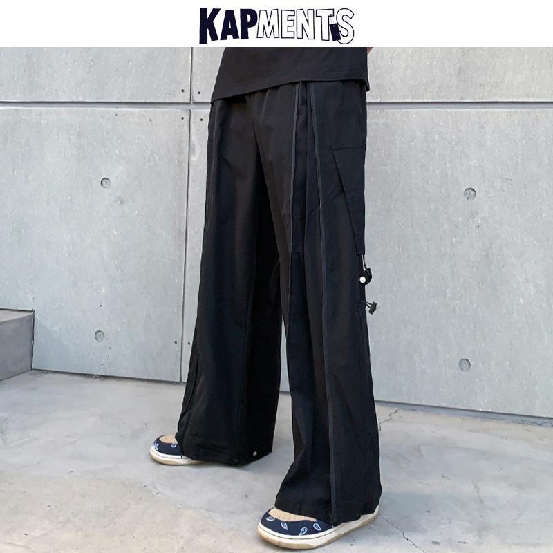 Kapitel Männer Streetwear Reißverschluss Schwarz Punk Sweatpants 2021 Frühling Herren Hip Hop Wide Beine Fracht Hosen Mann Japanische Vintage Jogger