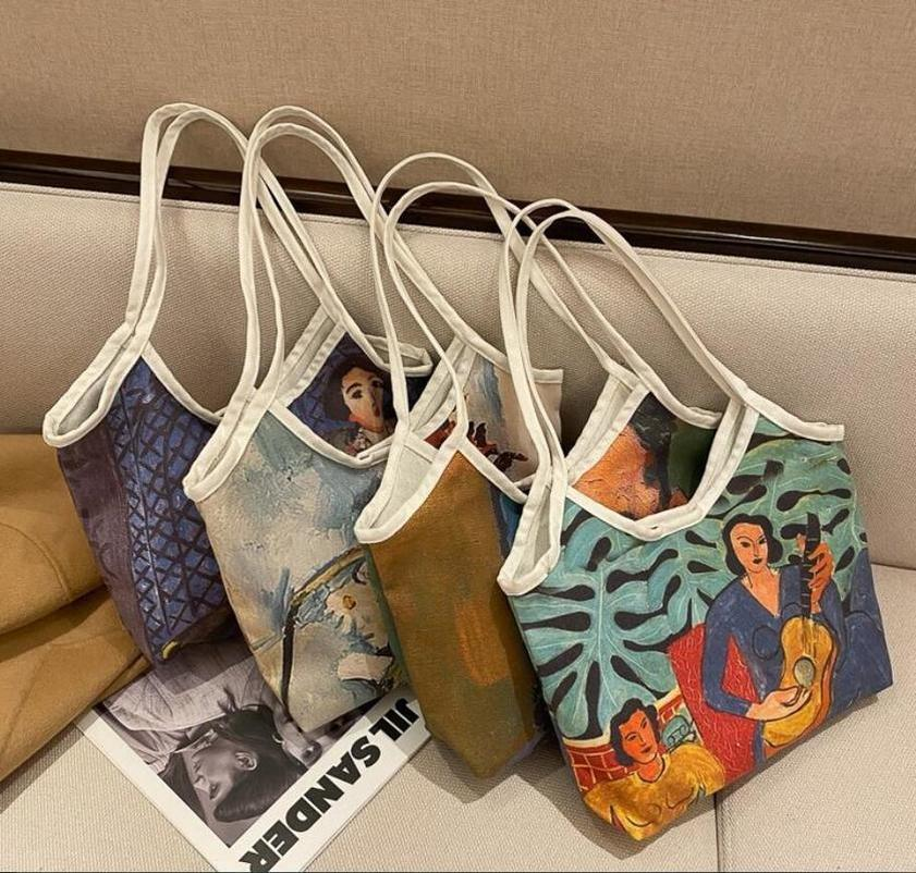 2021 New Designers Handbags Fashion shoulder bag graffiti print retro canvas Handbag Tote kids Lunch Mini Tote Bags For Women Shopping bag