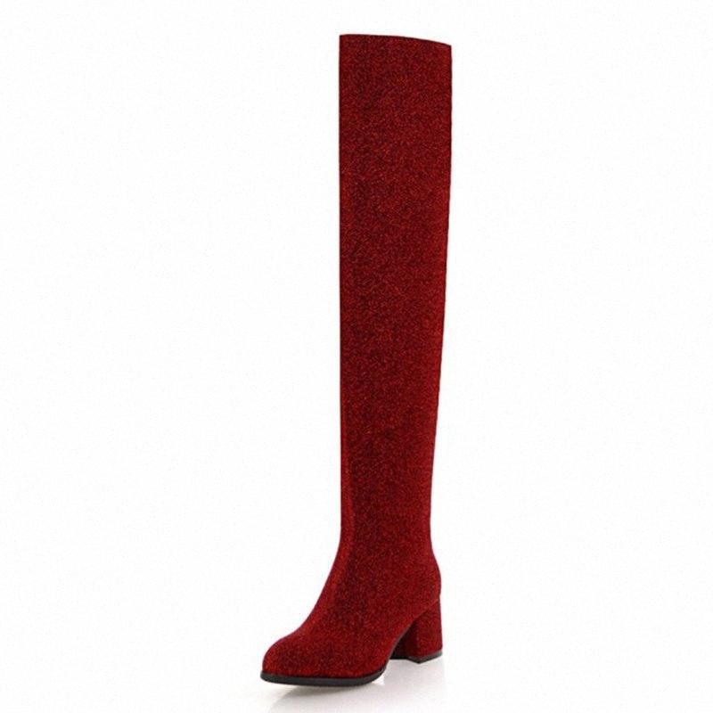 Kalenmos Kadınlar Diz Çizmeleri Üzerinde Blcok Orta Topuk Uzun Çizmeler Payetli Bez Kırmızı Parti Bayanlar Sonbahar Kış Ayakkabı Boyutu 33 43 Maymun Boot K8JZ #