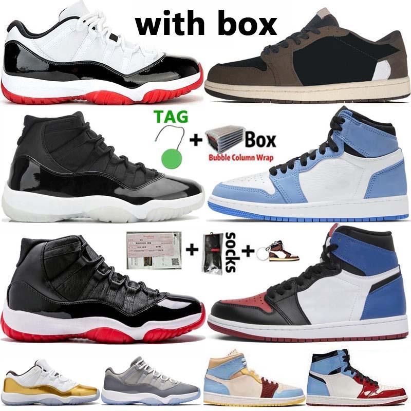 مع صندوق Jumpman 1 حجر السج UNC 1S العليا ترافيس سكوتس 4 القطة السوداء 4S أحذية كرة السلة للرجال قليلة ولدت 11 كونكورد 11S المرأة رجل الرياضة أحذية رياضية