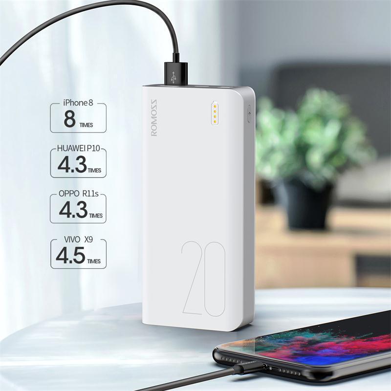 Romoss Sense6S Power Bank 20000mAh USB-Typ Tragbare Ladegerät 20000mAh Powerbank Externer Akkuladung für IP Xiaomi Huawei